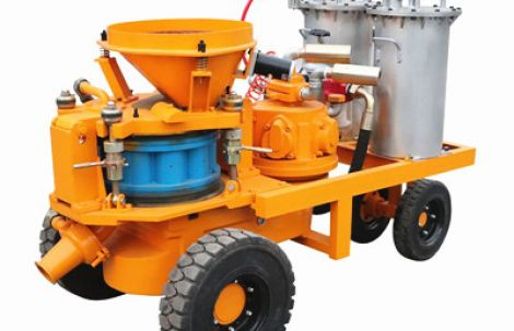 Application of wet concrete spraying machine